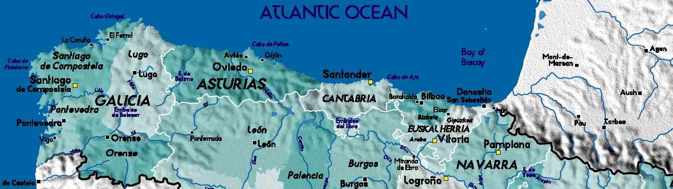 Kaart Noord Spanje